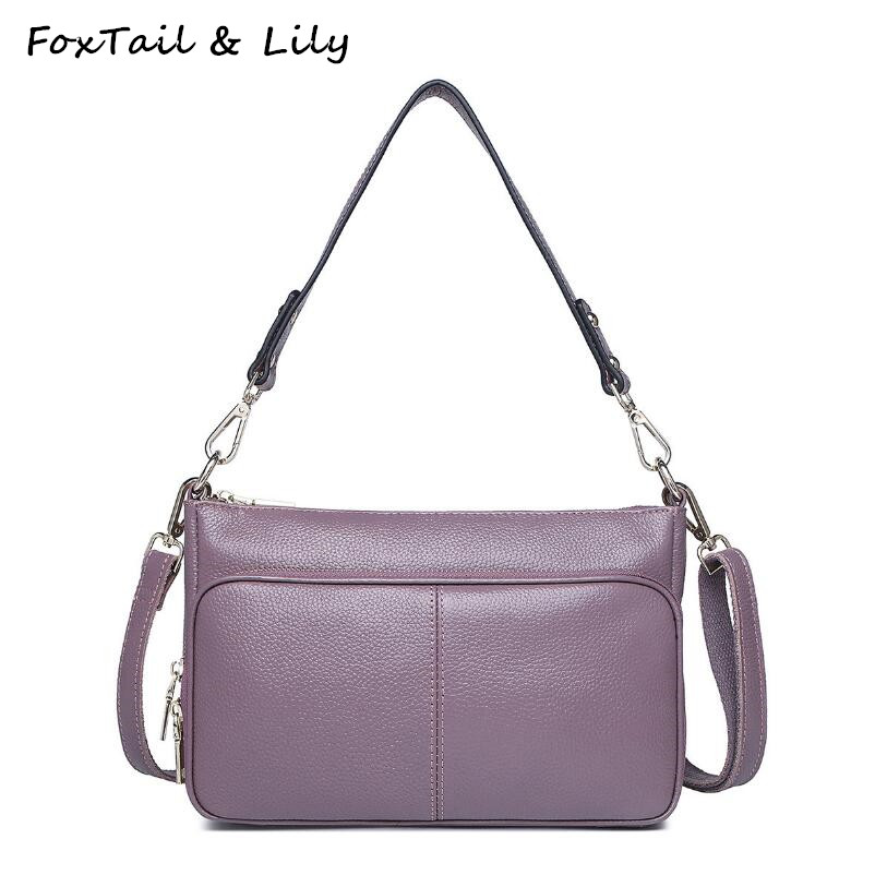 FoxTail &amp; Lily Simple Style Women Genuine Leather Handbags Female Casual Shoulder Bag Luxury Quality Women Messenger Bags<br>