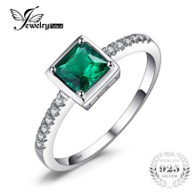 JewelryPalace Square 0.5ct Created Green Emerald Solitaire Ring 925 Sterling Silver Rings for Women Fine Jewelry(China)