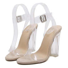 Kim Kardashian PVC Women Sandals Sexy Clear Transparent Ankle Strap High Heels 12cm Party Sandals Women Shoes Beige black(China)