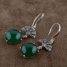 Natural Green Chalcedony Earring 925 Sterling Silver Women Round Vintage S925 Thai Silver boucle d'oreille Drop Earrings