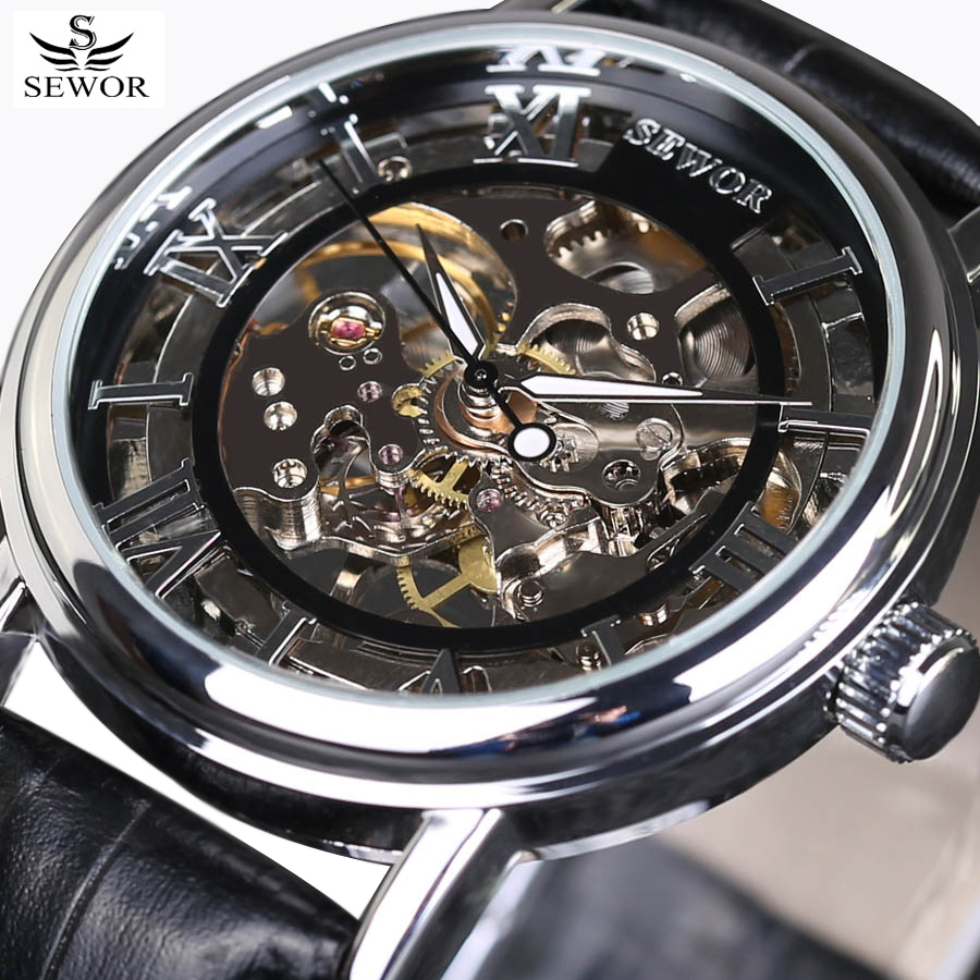 2017 SEWOR Luxury Brand Fashion Men Watches Mechanical Hand-Wind Skeleton Watch Leather Strap Classic Style Male Wrist Watch <br><br>Aliexpress