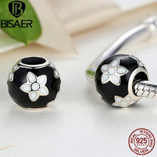 BISAER 925 Sterling Silver Black & White Enamel Mystic Flower Charm Fit PAN Charm Bracelet DIY Jewelry Accessories GOS092(China)