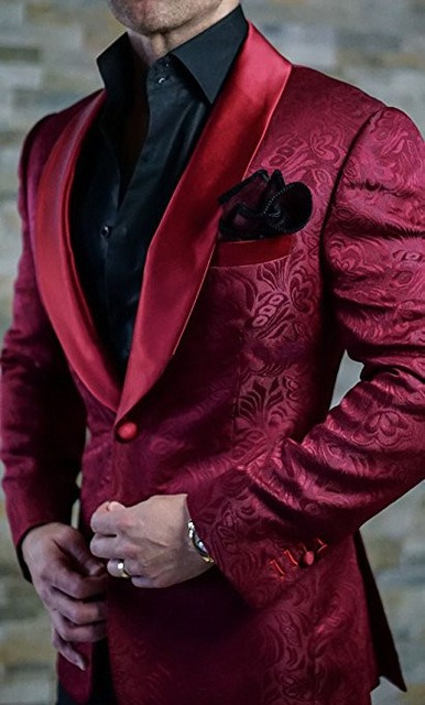 New Arrivals Burgundy Paisley Mens Suits Groom Tuxedos Groomsmen Wedding Party Dinner Best Man Suits (Jacket+Pants+Bow Tie) W:87