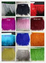 5 yards/lots Long Ostrich Feather Plumes Fringe trim Long hair 12-15cm Feather Boa Stripe for Party Clothing Accessories Craft