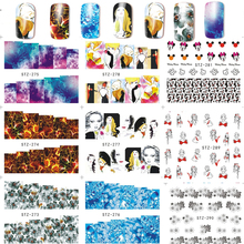 1 Sheet Fascinating Nail Art Flower Cartoon Water Transfer Stickers Nail Tips Decals Beauty Full Wrap Manicure Tool LASTZ273-296