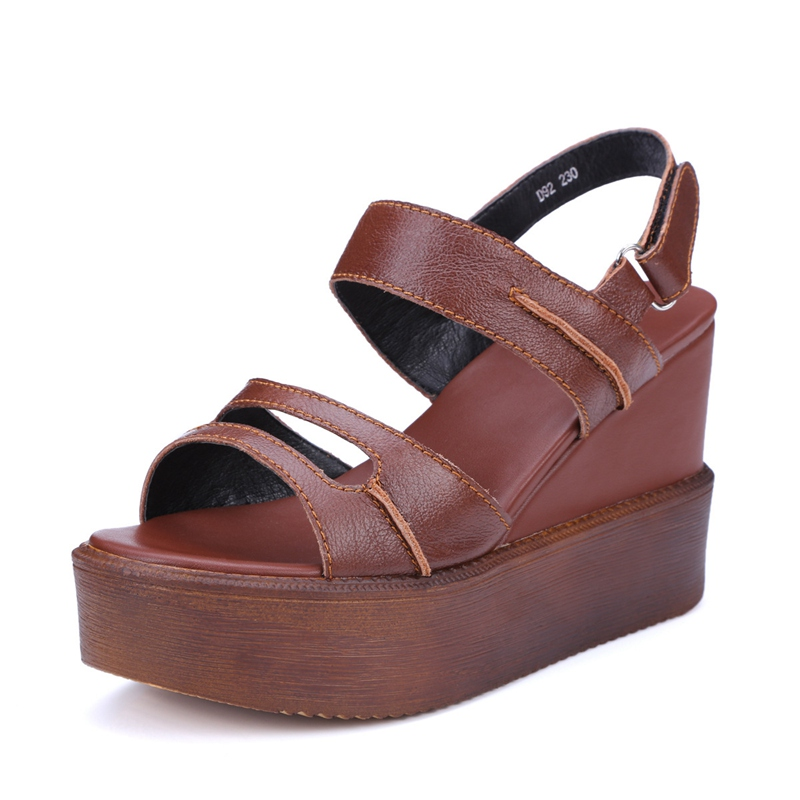 Brown Sandals 2017 New Fashion Open-toed Thick Crust Creepers Slope Heels Womens Shoes Ladies Elegant Simple Wedges Discount<br><br>Aliexpress