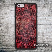 Red Floral Abstract Mandala Case For iPhone 7 6 6s Plus 5 5s SE 5c and For iPod 5 High Quality Phone Cover Wholesale