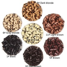 10000pcs 3.4*3.0* 6mm 3.5mm flare Euro Lock copper tubes Micro Rings links beads for stick I tip hair extensions 3# dark brown