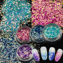 4 Colors 1 bottle New Arrival 3d Sequin Laser Chameleon Nail Glitter Paillettes Dazzling Mermaid DIY Manicure Sticker ND297(China)