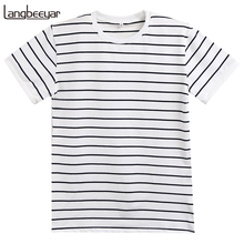 New Mens T Shirts Fashion 2017 Summer Striped Slim Fit Short Sleeve T Shirt Men 100% Cotton Brand-Clothing Casual Men T-Shirt