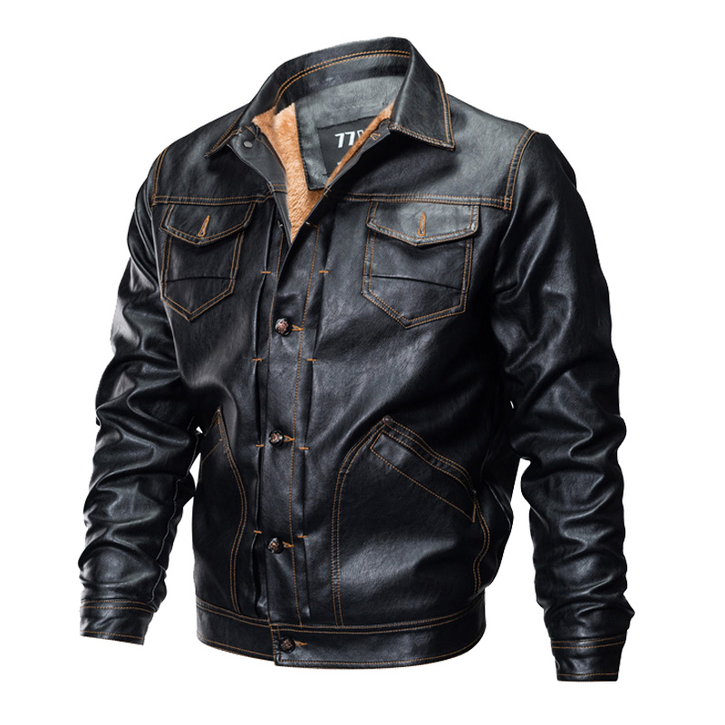 Men's Winter Thick Fleece Tactical Leather Jacket Military Bomber Jacket Slim US Army Pilot Jacket Motorcycle Coat Plus Size 3XL
