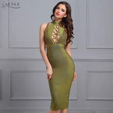 Adyce Women Bandage Dress 2017 Winter New Army Green Halter Sleeveless Hollow Out Bodycon Vestidos Sexy Evening Party Dress(China)