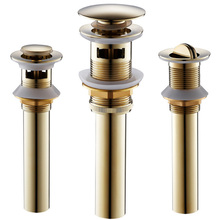 Deodorization Brass Strainer  Luxury Golden Overflow/Non-overflow Bathroom Sink Drain with Electroplated