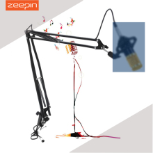 ZEEPIN Professional Metal Suspension Scissor Arm Adjustable Microphone Stand Holder For Mounting On PC Laptop Notebook