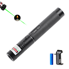High Power Laser Pointer Green 532nm 5mW303 Adjustable Laser Pointer Pen Beam Light With Rechargeable Battery 18650 With Charger(China)