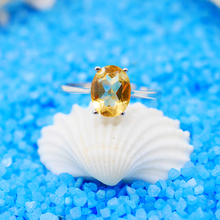 925 Sterling Silver Ring Oval Citrine Rings for Women Silver Color Trendy jewelry Girls Patyr Gifts Engagement Wedding Rings(China)