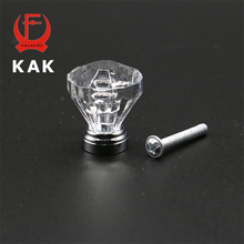 KAK 25mm Diamond Shape Design Clear Acrylic Knobs Cupboard Drawer Pull Door Kitchen Cabinet Wardrobe Zinc Alloy Handles Hardware(China)