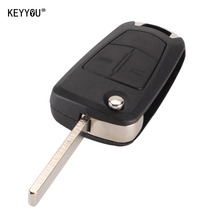 KEYYOU 2 Buttons Flip Remote Folding Car Key Fob Case for Vauxhall Opel Corsa Astra Vectra Signum Car Key Shell Cover With LOGO