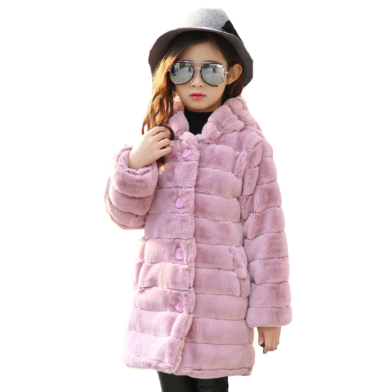 2018 Winter Jackets For Girls Clothing Thick Fluffy Coats Kids Warm Clothes Long Hooded Jackets Girls Outerwear 4 6 8 10 12Years<br>
