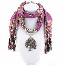 Ms 2016 new design national wind Indian printing color ms peacock pendant long scarf shawl necklace NK799