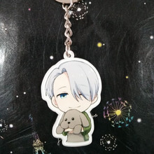 H:HYDE 1pc Acrylic Anime Keychain 6 Styles Figure Shape Single Side Keyrings For Women Men Phone Bag Pendant Jewelry Accessories(China)