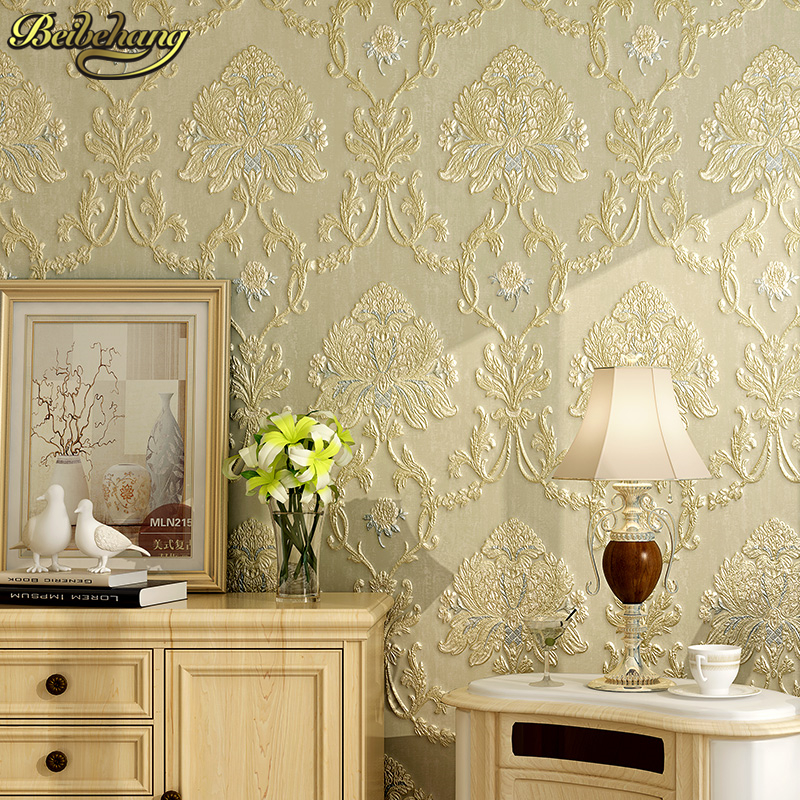 beibehang papel de parede.  wall covering metallic damask classic wall paper blue background wallpaper for living room bedroo<br>
