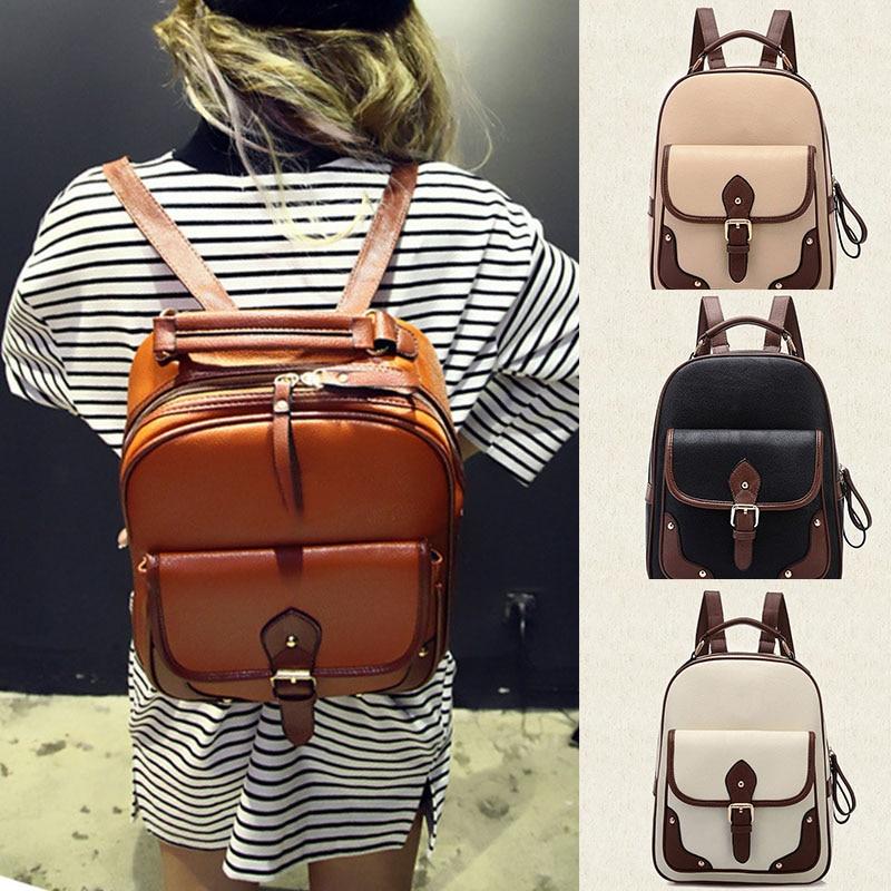 New Patchwork Women Backpacks Mochila Womens PU Leather Travel Bag School Backpack<br><br>Aliexpress