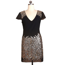 BLINGSTORY Europe And The United States Fashion Women Clothing Women's Embroidery Short Sleeved Sequined Dress KR2005-2