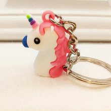 Cute Rainbow Unicorn Keychain Key Ring Decor Birthday Party Favor Bag Ornament For Kids(China)