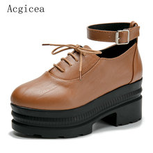 2017 New Brand Autumn Women Pumps Square Low Heels Platform Western Shoes Woman Female Vintage Casual Oxford Rain Footwear(China)