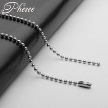 Phesee 2PCS/Lot Width 2.4mm Length(50cm-80cm) High Quality Stainless Beaded Chain Necklace For Women&Men Jewelry Accessories