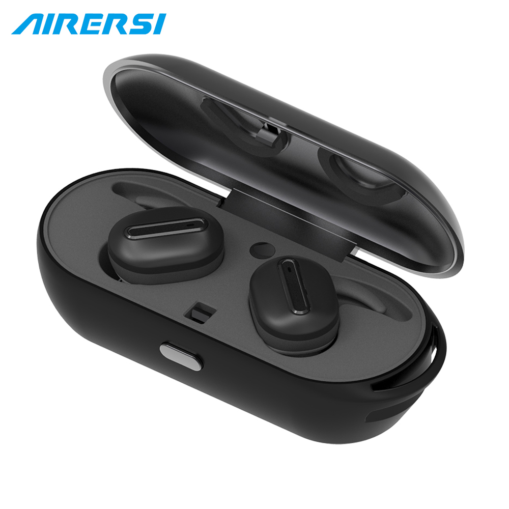 Newest Air-TWS Mini Bluetooth Headset True Stereo Handsfree Wireless Earphones with charge Box For Android IOS Phone<br>