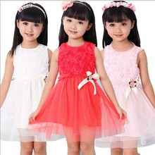 New Arrival 2013 Baby Girls Summer Dresses Kids Princess Dress Girls Rose Flower Dress Children Clothes LQ589(China)