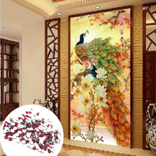 65X140 CM Transparent Round Rhinestone 5D DIY diamond embroidery peacock Picture animals Home Decor diamond Painting cross stich