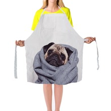 Unique Work Apron for Men Women Cute Pug Print Personalized Chef Aprons Sleeveless 79*67cm Restaurant Kitchen Bib Aprons(China)