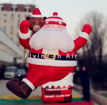 4.5m/15ft Christmas Climbing Inflatable Santa Claus from Chimney with Bear