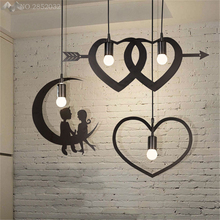 JW_Nordic Modern Minimalist Iron Chandeliers Creative Love Pendant Lamp Bedroom Restaurant Cafe Bar Indoor Lighting Decoration(China)