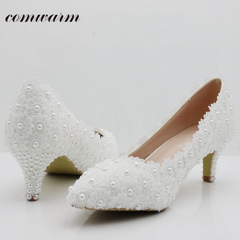 New Imitation Pearl Women Pumps Wedding Shoes Handmade Lace White Bridal Shoes Bridesmaid Shoes Banquet Dress Shoes 5cm Heel<br><br>Aliexpress