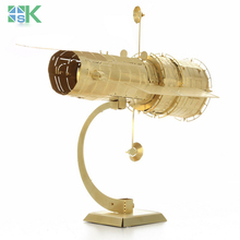 2016 New Arrival SK3D Metal Model Puzzles HUBBLE TELESCOPE golden brass ICONX Etching assembly Creative gifts Chall free shippin