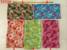 150cm width printed soft chiffon fabric rose flowers pattern for scarf and headband LS-J7372