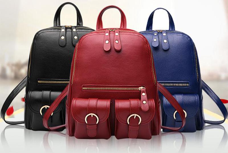 Must, sinine või punane kunstnahast seljakott