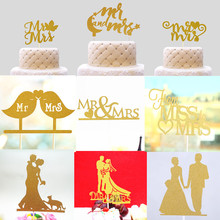 Glitter Love Heart Wedding Cake Topper Bride Groom Mr Mrs Souvenirs Birthday Party Decoration Wrapper Baby Shower Centerpieces(China)