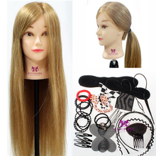 "26"" 70% Real Hair Hairdressing Training Head Cosmetology Mannequin Manikin Practice Model + Free Clamp Braid Tool Set"