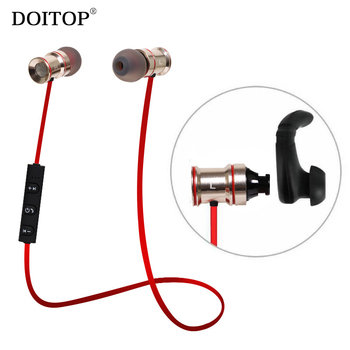 DOITOP Magnet Wireless Bluetooth Earphone Music Headset Sport Running Stereo Low Bass Noise Reduction Earbuds Headphone with Mic