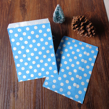 100pcs Blue Dots Paper Bags Strung Food Quality Craft Favor Candy Snack Bag Gift Treat Paper Bag Party Favor 5 x 7inch