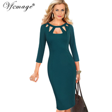 Vfemage Womens Autumn Elegant Sexy Cutout Slim Casual Work Office Business Party Club Pinup Fitted Bodycon Pencil Dress 7151(China)