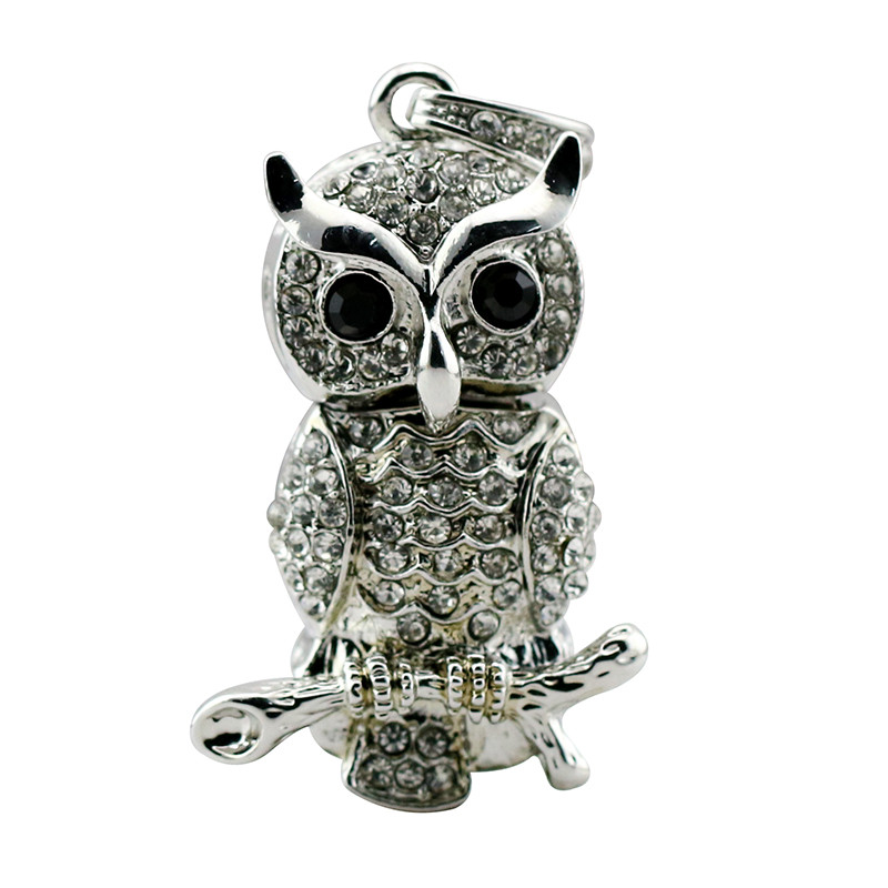 Animal USB Flash Drive Metal Diamond Owl Pendrive Nighthawk Pen Drive 4GB 8GB 16GB 32GB 64GB USB Memory Stick Gift With Necklace 19