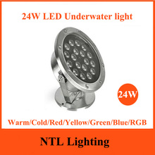 NEW 24W LED Underwater light IP68 waterproof lamp lights ACDC 12V 24V for Fountain Pool Pond Fish Tank Aquarium Park Freeship