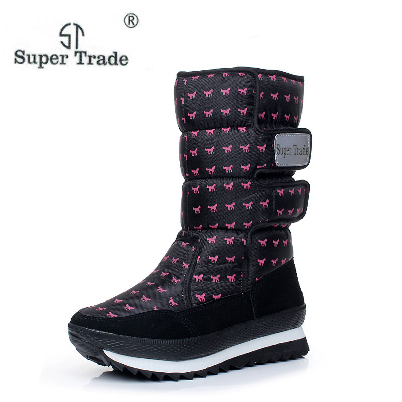 ST SUPER TEADE Large Size 35-41 Fashion Women Shoes Thermal Medium-Leg Waterproof Boots Snow Boots Cotton Boots2017 Winter Shoes<br>