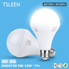 Cheap 1pc Brightly Warm/Cool White 220v E27 E14 LED Bulb Light Low Heat Lamps 3/5/7/9/12W for home, shops, offices(China)